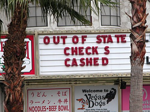 Out of state checks cashed