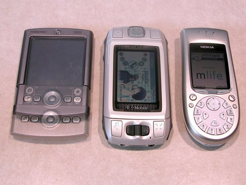 Palm Tungsten T, Sidekick, and Nokia 3650