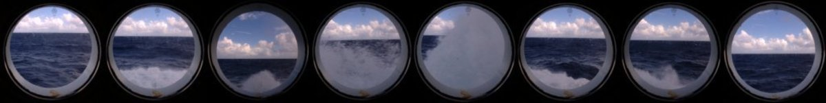 Rough sea porthole view