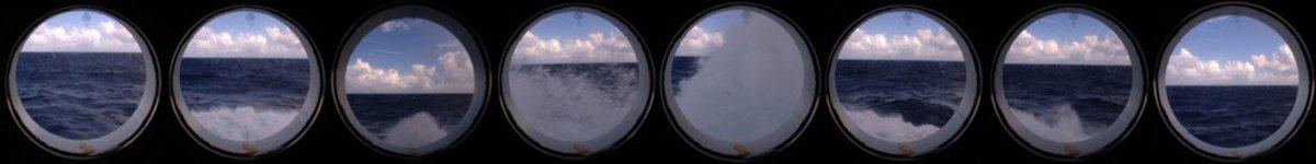 Rough sea porthole view