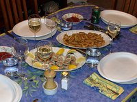 Clams and calamari (first and second courses)