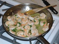 Shrimp scampi (fourth course)