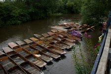 Punts on the raging Cherwell River