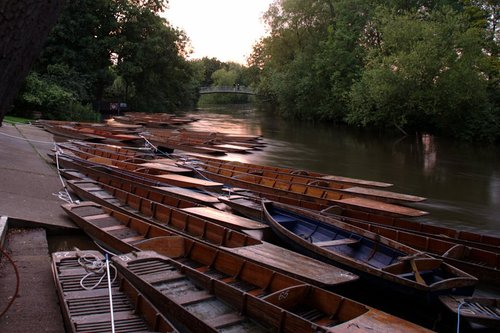 Sunset over punts at Cherwell Boat House