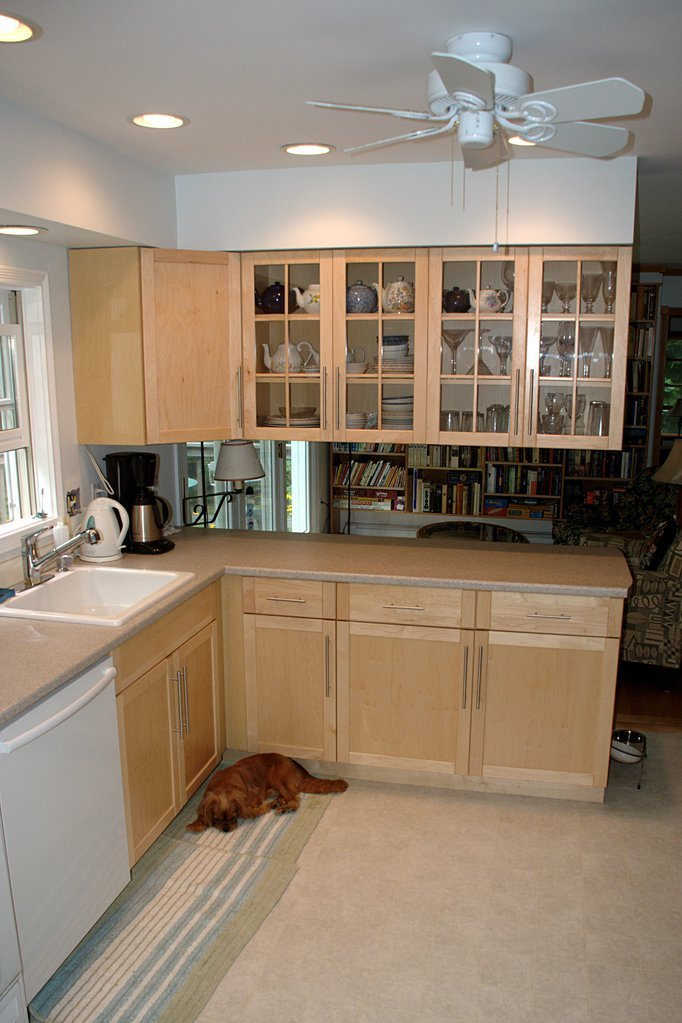 After the reno: new cabinets, new counter-top, new sink (and new floor)