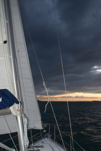 Sailing toward the sunset on the Solent