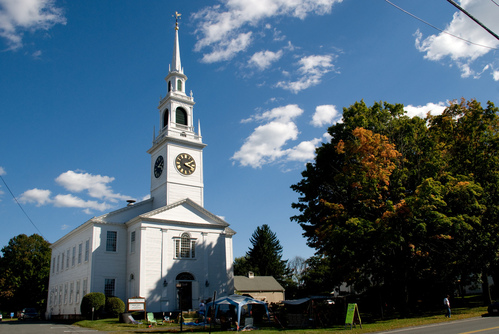 New England church in the autumn sun