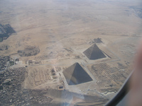 The pyramids of Giza from above