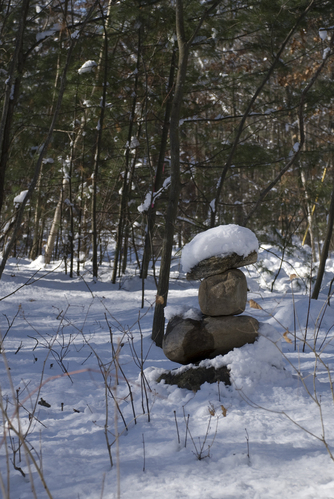 Rocks, with snow