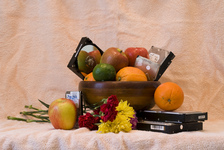 Still life with winter fruit and dead hard drives
