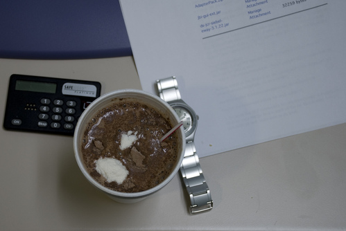 Cheap coffee. Cheap cocoa. Powdered creamer. Afternoon desperati