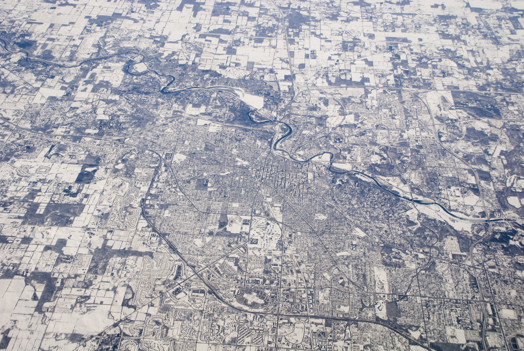 The midwest, snowy, from above