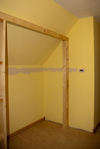 Towards the bedroom, working on framing