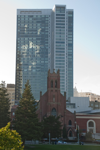 Church and reflections from Yerba Buena Gardens