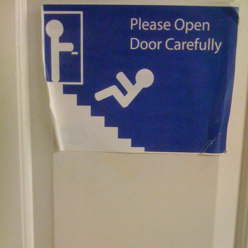 Open door carefully