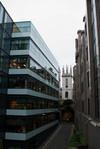 History among the modern buildings