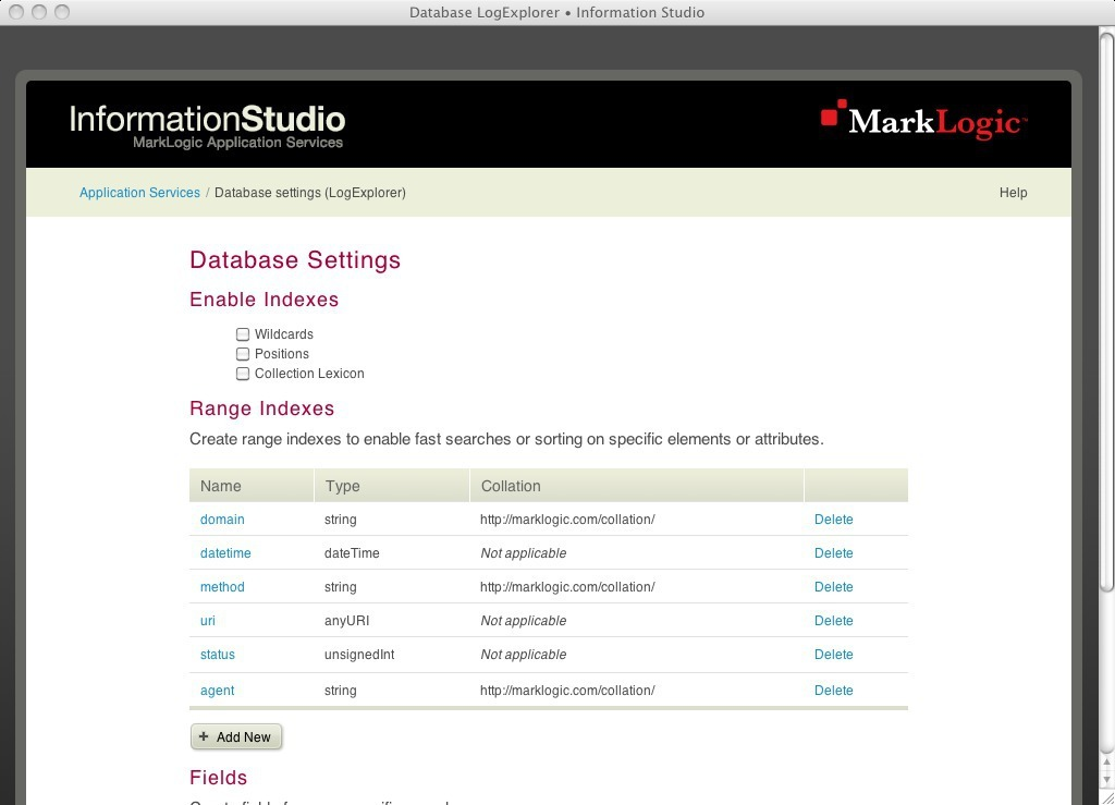 Range indexes configured