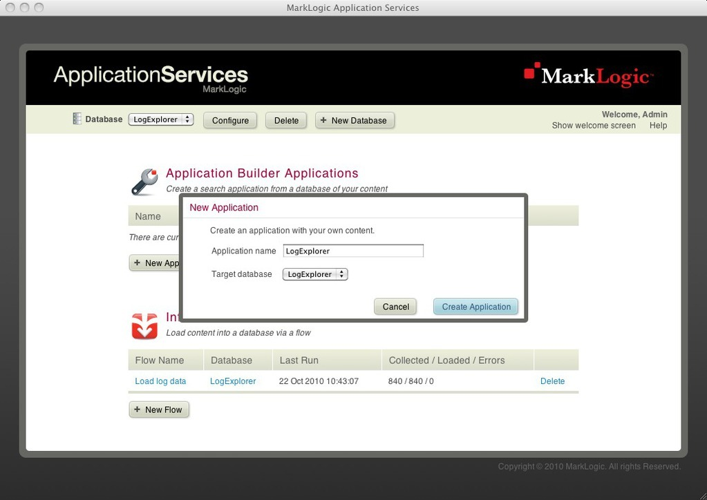 Creating new application