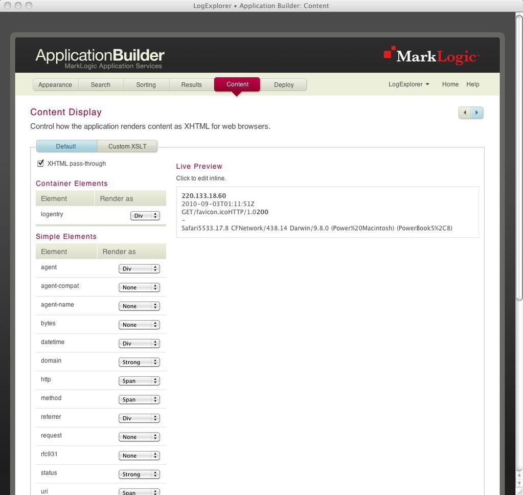 Configured content settings