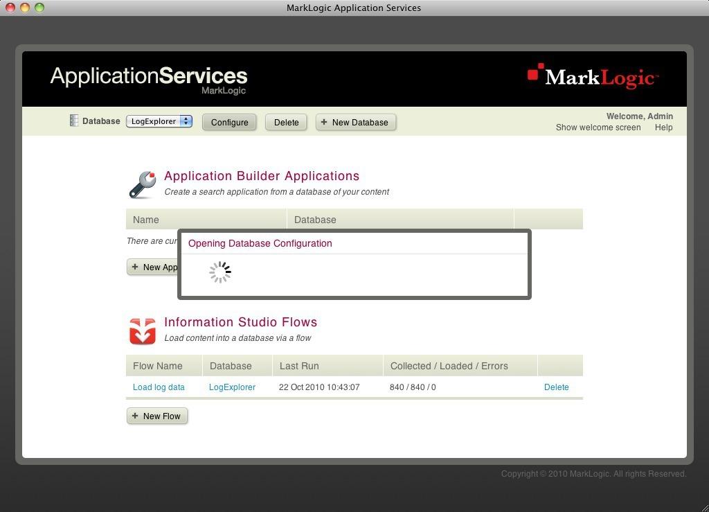 Opening database configuration