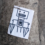 Robot, heart, umbrellas