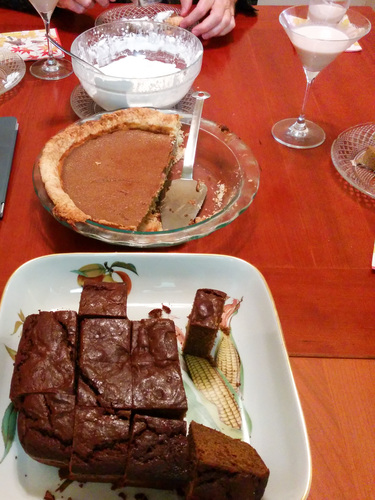 Ginger bread, pumpkin pie, brandied whipped cream, and Paula Alexanders