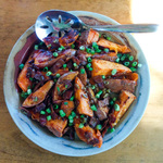 Roasted sweet potatoes with bacon vinaigrette