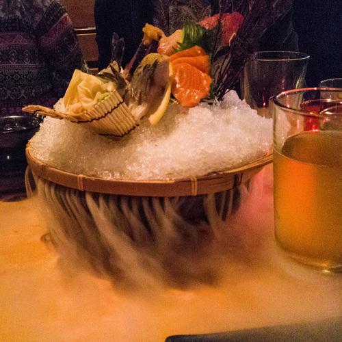 Sushi on ice. Dry ice.