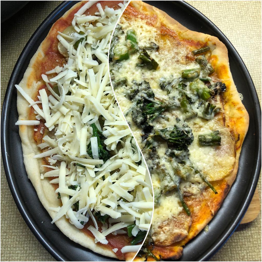 Potato, broccoli, and cheddar pizza