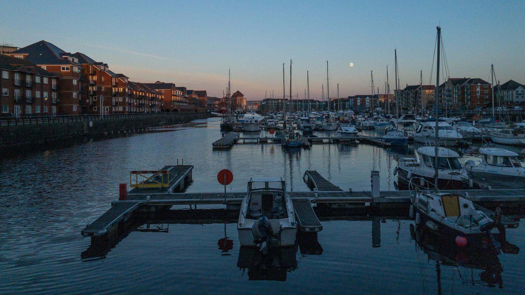 Moonrise over Swansea marina